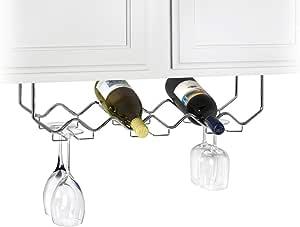 Useful Home | Under Cabinet Stemware Holder and Wine Rack - Holds 6 Bottles/6 Stems - Chrome