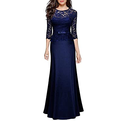 Lrady Women's Retro Floral Lace Evening Gown Slim Peplum Party Wedding Maxi Dress: Clothing