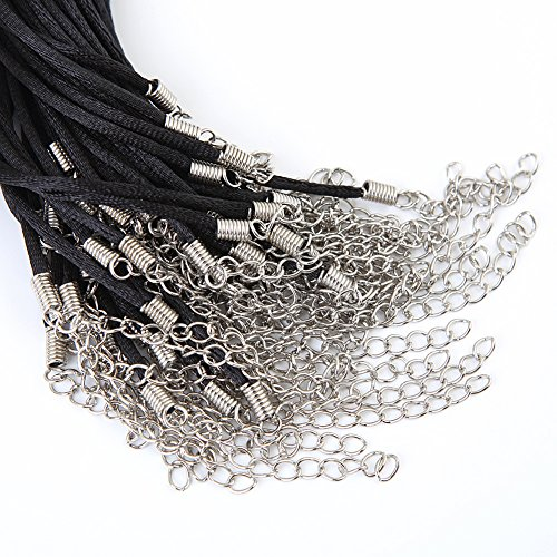 (Bingcute 50Pcs Black Satin Necklace Cord 2.0mm Size/20.1 Inch with Lobster Clasp 2