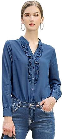 Allegra K Blusa de manga larga con volantes y botones para mujer: Amazon.es: Ropa y accesorios