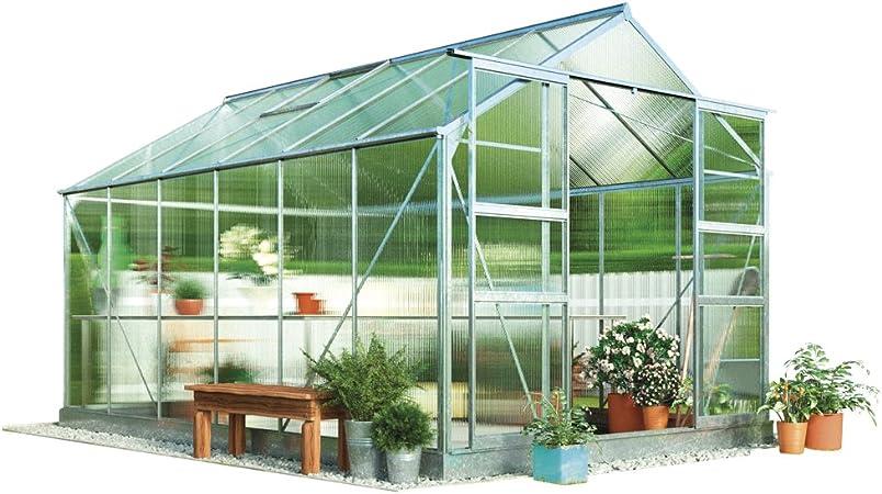 Invernadero Waltons 2, 4 x 3 metros con doble pared de policarbonato, marco de aluminio y base de acero, plata: Amazon.es: Jardín