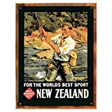 Wood-Framed New Zealand Sports Metal Sign: Travel Decor Wall Accent for kitchen on reclaimed, rustic wood