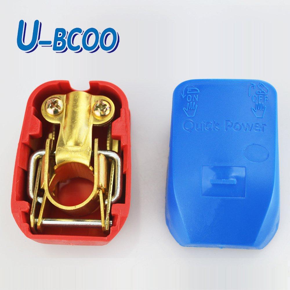 ajusta los terminales de la bater/ía del coche positivo y negativo negro y rojo par Conector de bater/ía de liberaci/ón r/ápida U-BCOO