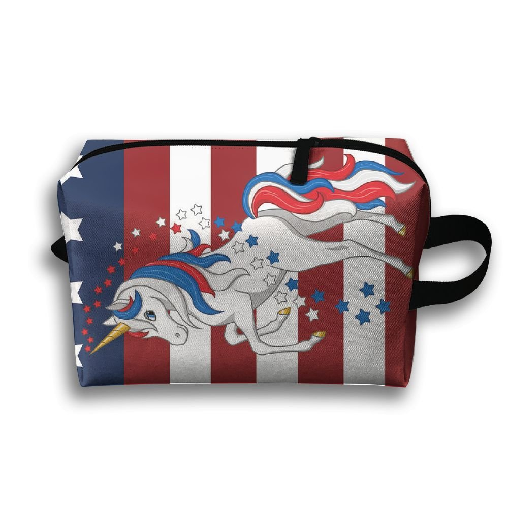 pengyong American FlagユニコーンSmall Travel Toiletry Bagスーパーライトトイレタリーオーガナイザー一泊旅行用バッグ B07BRL1RM6
