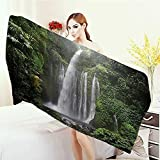 Adults Soft Absorbent Quick Dry Blanket Waterfall Decor Collection Rainforest Waterfall in Indonesia Tropical Trees Adventure Picture Large Bath Towel 55''x27.5'' Green