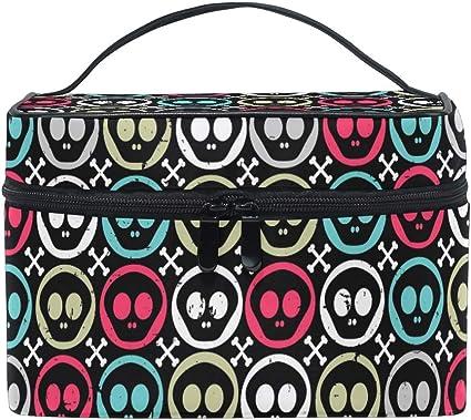 Neceser de maquillaje, diseño de calaveras, estuche organizador de cosméticos con asa de viaje, bolsa personalizada con compartimentos para adolescentes, niñas, mujeres y mujeres: Amazon.es: Belleza