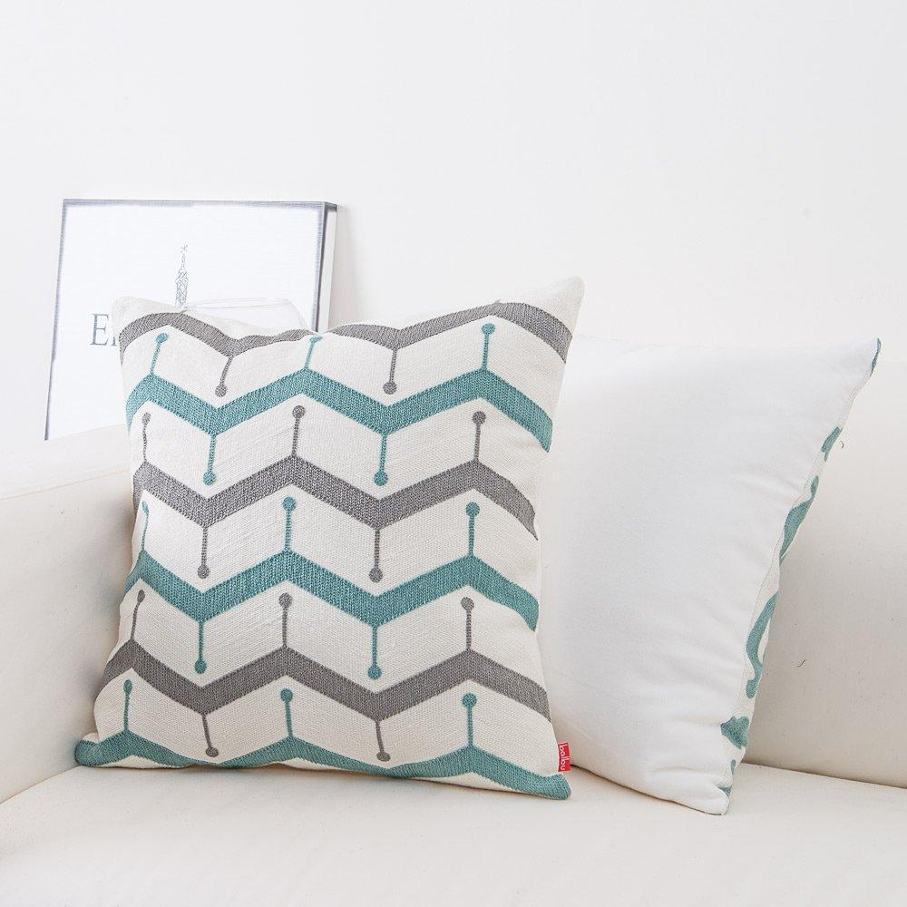 baibu 100/% Cotton Decor Sofa Throw Pillow Case Embroidery Grey Cushion Cover for Bed,Chair,Sofa Set of 4 5955286