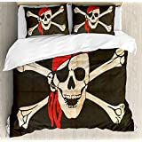 Ambesonne Pirate Duvet Cover Set Queen Size, Flag of Tierra del Fuego Argentina in Grunge Antique Historical, Decorative 3 Piece Bedding Set with 2 Pillow Shams, Army Green Beige Vermilion