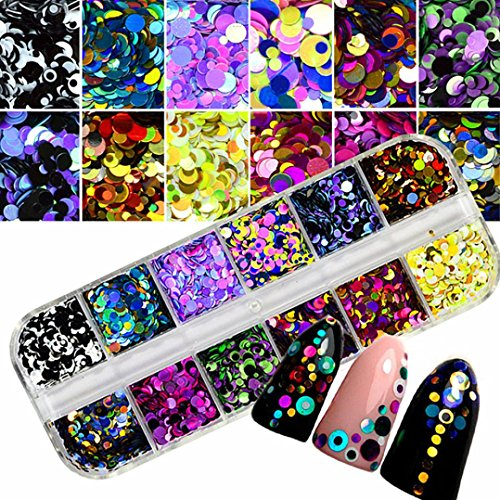 kaifongfu Nail Stickers, colorful Nail Art tips Stickers 3D Laser Makeup Manicure DIY Decals Decoration (as Show)