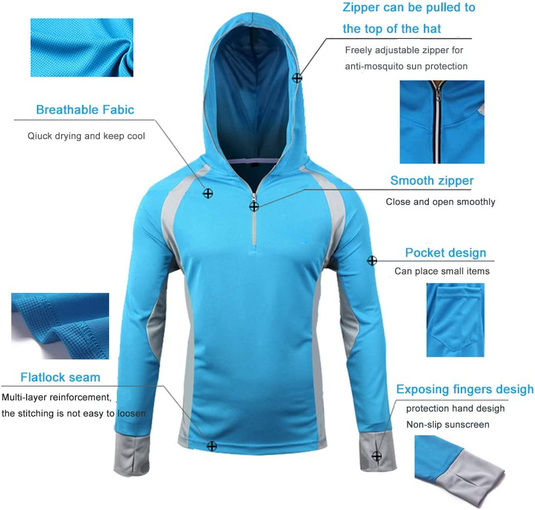 Men/'s Anti-UV Sunscreen Protection Skin Coat Outdoor Quick Drying Fishing Shirts