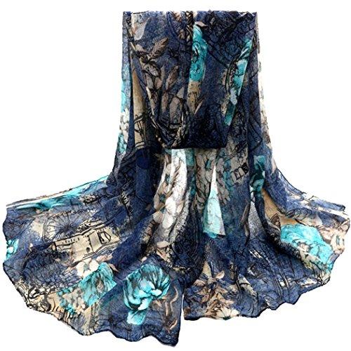 Winhurn Beautiful Fashion Voile Flower Long Size Women Scarf Wrap (Blue)