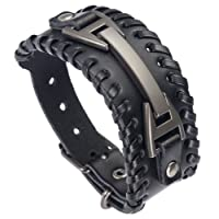 Doitory Men Leather Bracelet Punk Braided Rope Alloy Bracelet Bangle Wristband