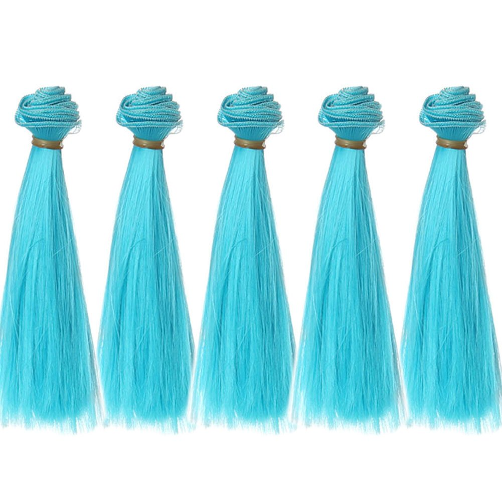 5pcs/lot,15x100cm Straight Bady Blue Synthetic Doll Hair Pieces for Crafting BJD Blythe Pullip Doll's Wig Leeswig