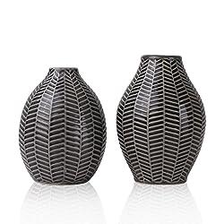 Hannah's Cottage Vasi in ceramica, Set di 2 Vasi decorativi moderni grigi fatti a mano per soggiorno, cucina, tavolo, casa, ufficio, matrimonio, centrotavola o come regalo, 15cm e 14cm