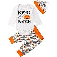 BULINGNA Newborn Baby Girl Boy Halloween Outfits Set, Long Sleeve Letters Print Bodysuit Ghost/Pumpkin Pants Headband…