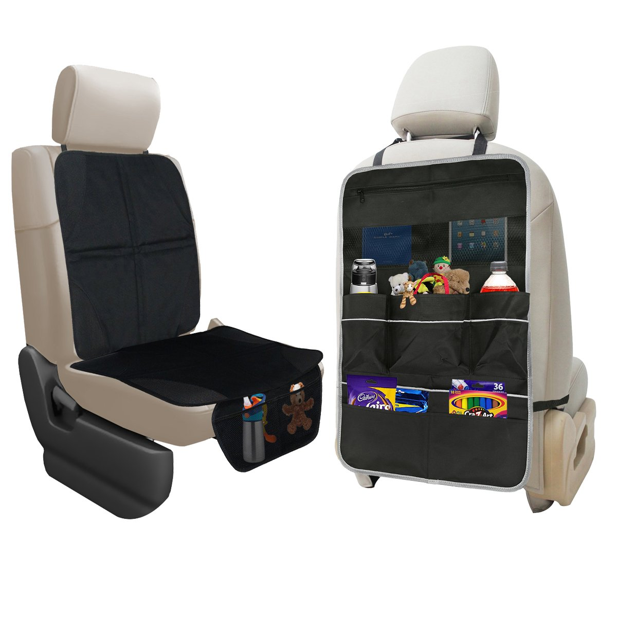 7 Pocket Storage Car Seat Back Organizer /& Kick Mat Protector X-Large Kids Toys and Travel Accessories Organizer lebogner Car Seat Protector Durable Quality Seat Covers Backseat Organizer