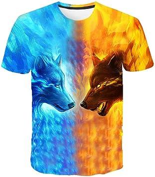 DNBUIFHSD Camiseta para Hombre Camiseta 3D Summer Wolf Animal Printing Camiseta de Manga Corta Blusa Tops Hombre Camisetas Divertidas 3D Animal Camiseta Tallas Grandes color3-2XL: Amazon.es: Deportes y aire libre