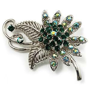 Broche Estilo Floral con cristales color verde esmeralda (en tono plateado)