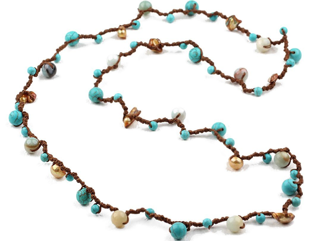 Turquoise Amazonite Necklace Long Fashion Style Brown Cord Bohemia Jewelry
