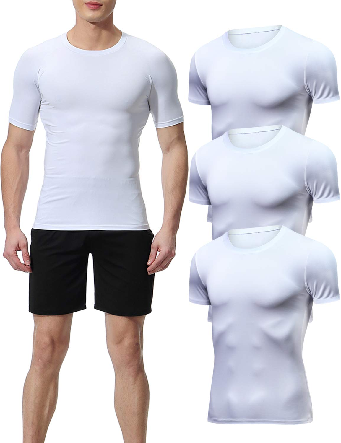 Lavento Men's Compression Shirts Cool Dry Short-Sleeve Workout Undershirts (3 Pack-Crew Neck White,Medium) by Lavento