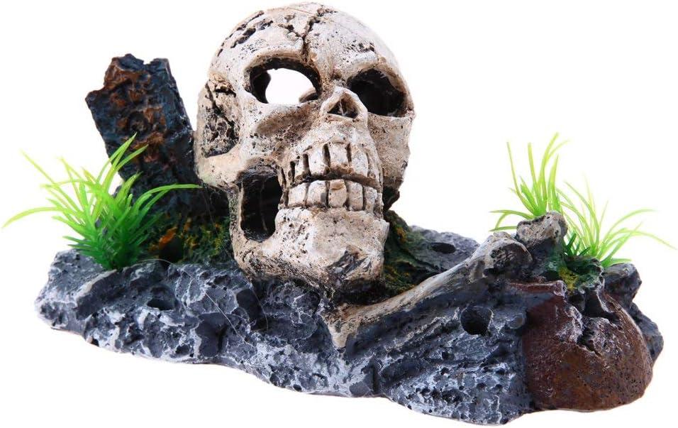 Fast Shop Fish Tank Landscape Skull Skeleton Shaped Ornament Aquarium Fish Tank Pirate Decor Useful And