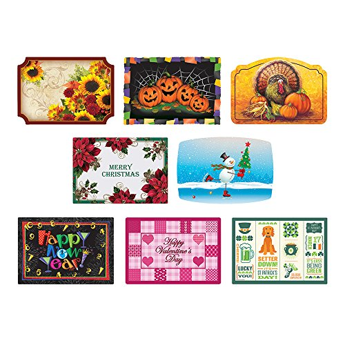 Hoffmaster 857208 Fall - Winter Seasonal Celebration Placemats, 8 Different Designs in Each case, 9.75