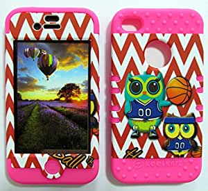 APPLE IPHONE 4 4S 4G CASE OWL BASKETBALL CHEVRON MA-TE689 HEAVY DUTY HIGH IMPACT HYBRID COVER MAGENTA HOT PINK SILICONE SKIN