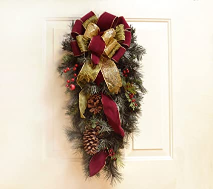 Christmas Swag.Amazon Com Christmas Swag For Doors Burgundy Home Kitchen