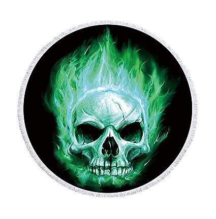 Sticker Superb Grande Cráneo del Azúcar Toalla de Playa Redonda con Borla 59 Pulgadas Marco del
