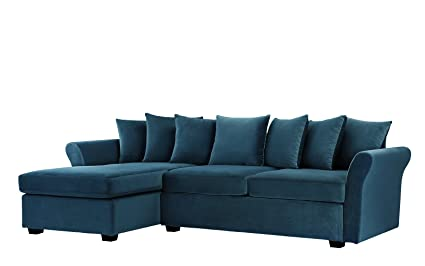 Divano Roma Furniture Modern Large Velvet Sectional Sofa, L Shape Couch  With Extra Wide