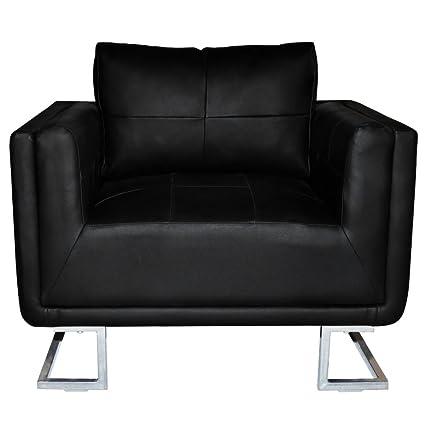 Amazon Com Festnight Black Luxury Cube Armchair With Chrome Feet