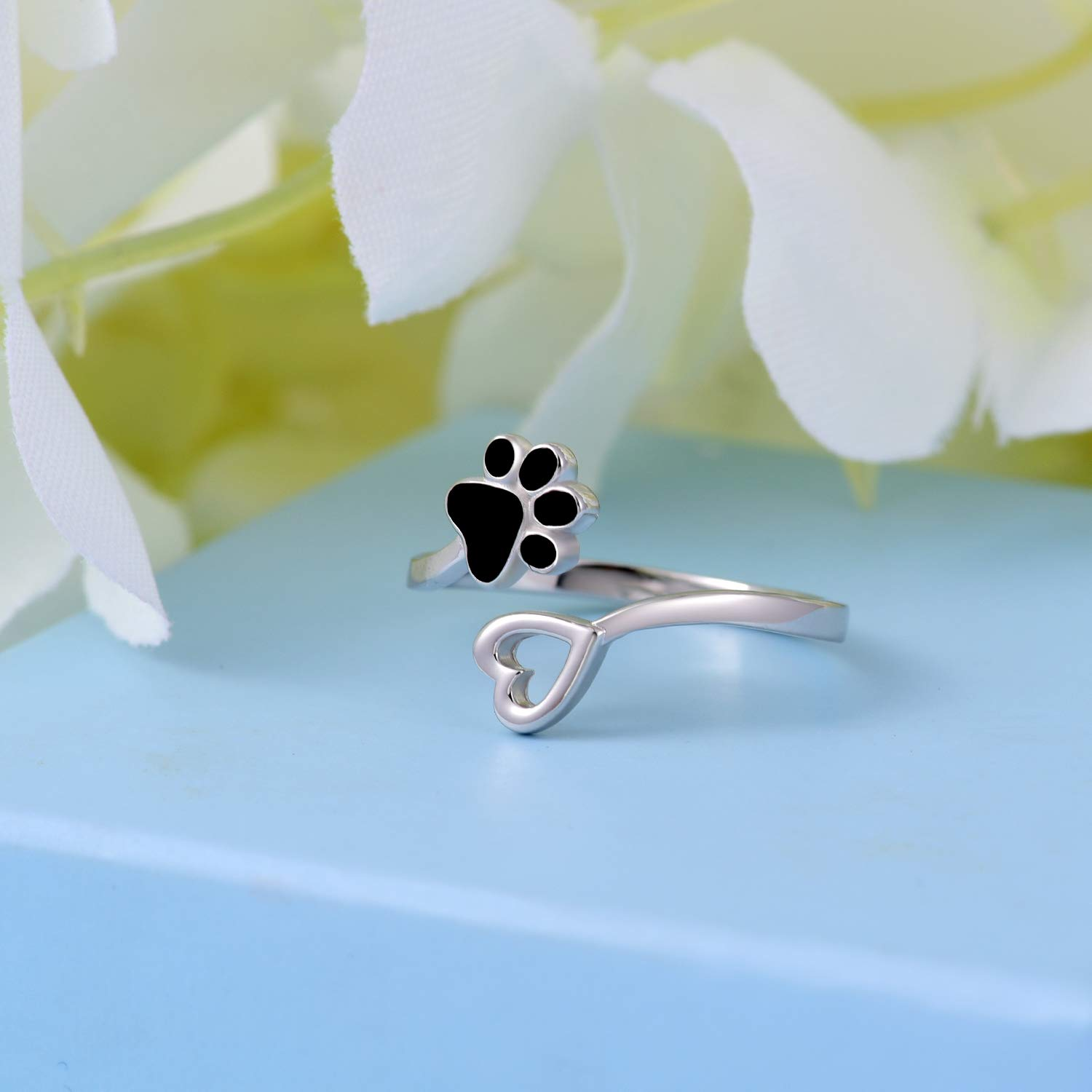 ACJFA 925 Sterling Silver Paw Print Love Heart Ring Adjustable Wrap Open Rings Jewelry for Pet Dog Cat by ACJFA (Image #5)