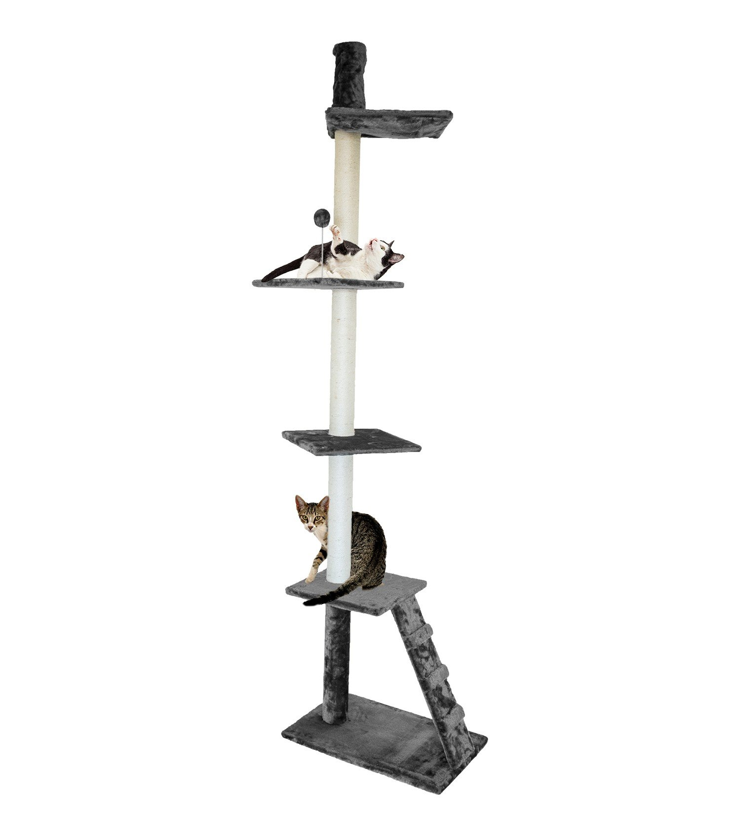Furhaven Tiger Tough Cat Tree House Furniture for Cats and Kittens, Ladder Playground, Gray