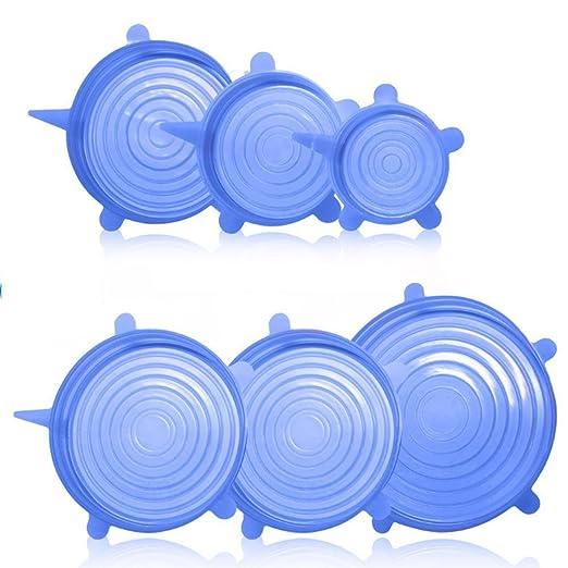 6 paquetes de tapas de silicona de estiramiento, BPA Free Food ...