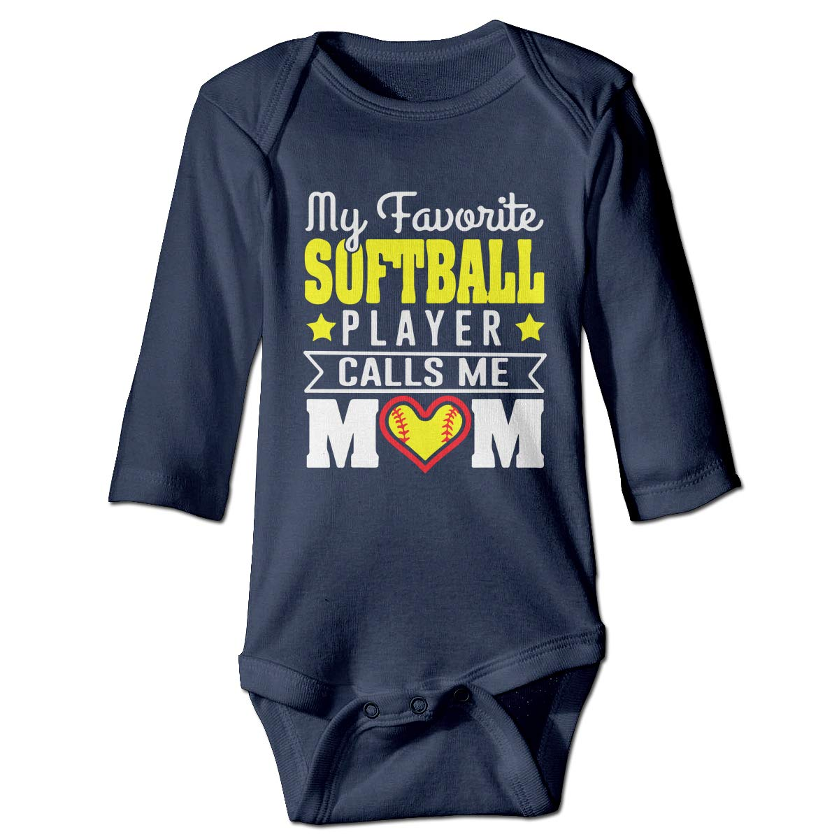 A14UBP Newborn Baby Boys Girls Long Sleeve Baby Clothes My Favorite Softball Player Unisex Button Playsuit Outfit Clothes