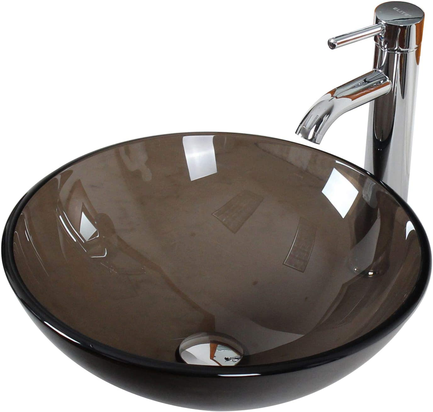 ELITE Bathroom Clear Brown Glass Vessel Sink Chrome Single Lever Faucet Combo