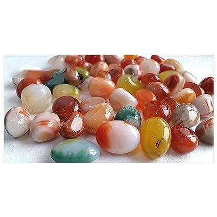 Piedras naturales pulidas de 500 g de la marca NACOLA de piedras de varios colores, pequeñas piedras decorativas de roca de río para peces de agua dulce ...