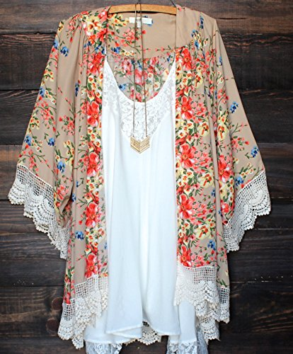 Relipop Womens Sheer Chiffon Blouse Loose Tops Kimono Floral Print Cardigan,Beige,Medium
