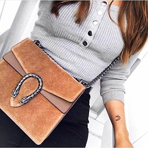 Spalla myitalianbag Tracola Metallo E Borsa Rachel Pochette Accessori In Italy A Camoscio Made Pelle Liscia Catena Cuoio ICwqfBC