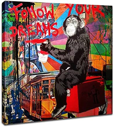 DVQ ART – Framed Canvas Painting Graffiti Monkey Follow Your Dreams Art Wall Picture Animal Street Artwork for Living Room Decor Ready to Hang 1 Pcs