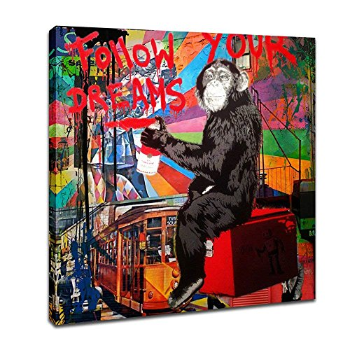 DVQ ART - Framed Canvas Painting Graffiti Monkey