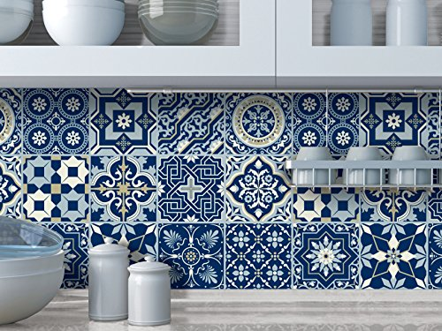 Peel and stick Wall Tile Sticker Art Kitchen Eclectic set of 24 stickers 4x4 Inches - (Royal Blue)