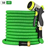 Besiter Expandable Garden Hose-New 2018 50ft {UPGRATED} Expanding Hose with 3/4 Heavy Duty Brass Connectors-Lightweight and Kink Free Flexible Water Hose with 8 Function Metal Spray Nozzle-Green