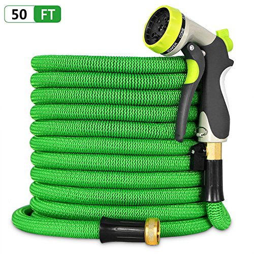 Besiter Expandable Garden Hose-New 2018 50ft {UPGRATED} Expanding Hose with 3/4 Heavy Duty Brass Connectors-Lightweight and Kink Free Flexible Water Hose with 8 Function Metal Spray Nozzle-Green by Besiter