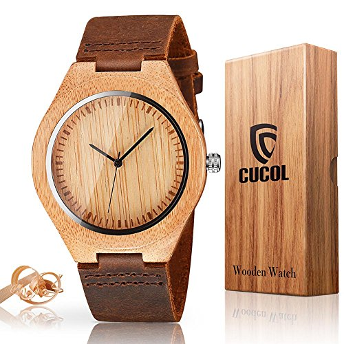 CUCOL Mens Wooden Watches Brown Cowhide Leather Strap Casual Watch for Groomsmen Gift with Box by CUCOL
