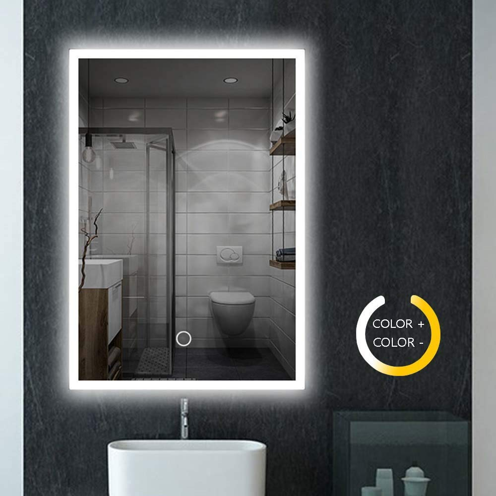 Peralng 32 x 24 Inch Led Lighted Bathroom Mirror - Wall Mounted Illuminated Mirror Touch Button Adjustable White/Warm White/Warm Lights