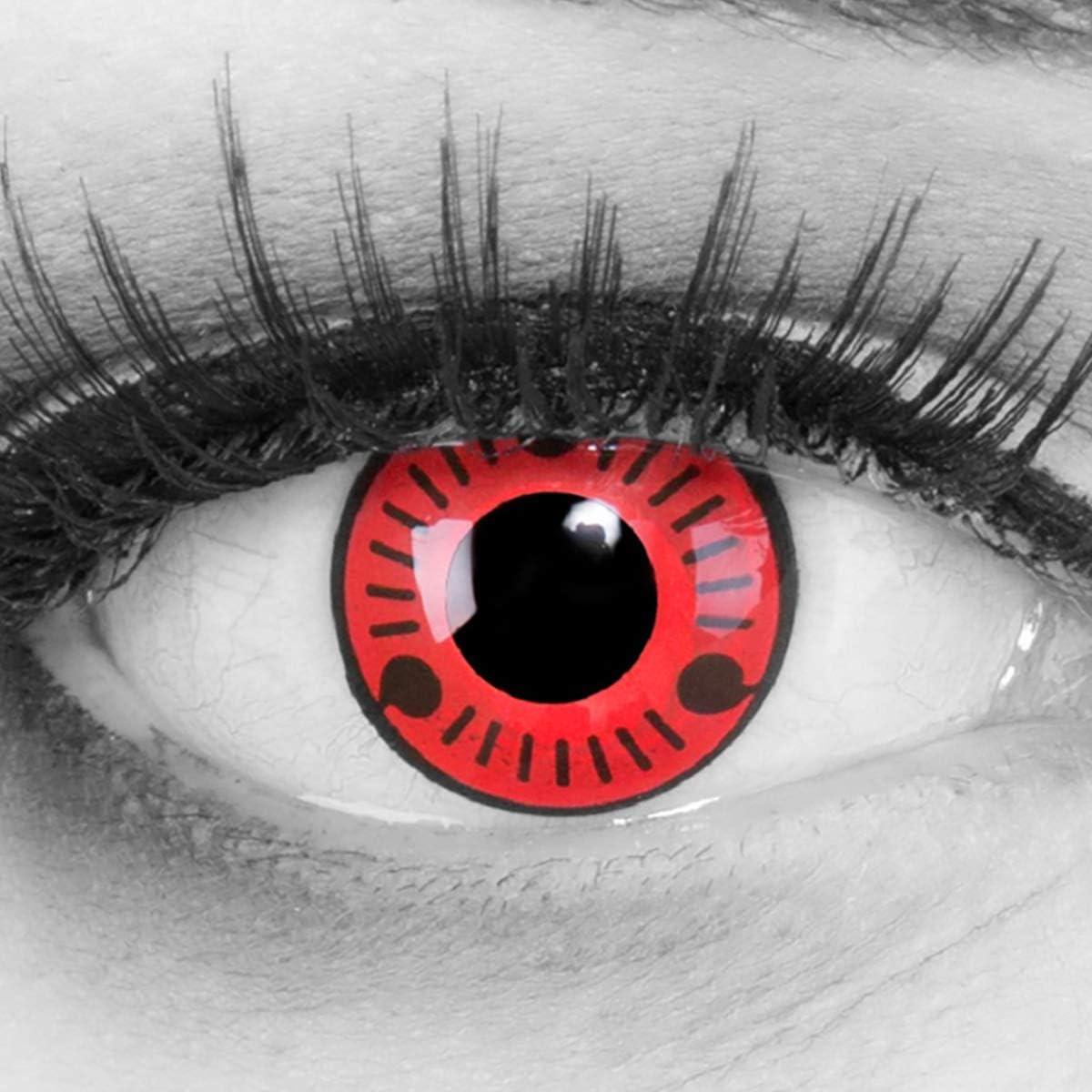 entillas de color rojo negro Sasuke 1 par. Para Halloween Carnaval,cosplay de anime, gratis estuche de lentillas sin graduación