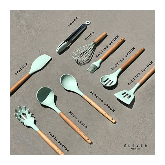 Kitchen Utensil Set - 9 Cooking Utensils. Kitchen Gadgets for Nonstick Cookware Set. Kitchen Accessories, Silicone Spatula set, Serving Utensils. Best Silicone Kitchen Utensils Tools Gifts - ÉLEVER 7 ✅ AS SEEN ON BUZZFEED - CURATED COOKING UTENSILS - Inspired by Marie Kondo's motto of cherished necessities, we curated a luxury series of 9 most popular and versatile kitchen gadgets among professional chefs and home cooks. Prep, cook, serve and entertain like a pro with our multitasking kitchen utensil set. ✅ COOK & SERVE WITH STYLE - Our designers set out to reimagine everyday kitchen tools with polished finishes and mesmerizing color scheme, beautifully designed to enhance your appetite . With these classy kitchen accessories, cooking will no longer be a chore! This mint silicone utensil set also makes a great conversation starter in the kitchen, as per our customer reviews! ✅ ULTRA HEAT-RESISTANT & NON-SCRATCH - A major upgrade from plastic utensils, our kitchen utensils are heat resistant up to 572 ºF (300 ºC). Think no more melted cooking spoons or accidentally burning your hand while cooking! Unlike stainless steel kitchen utensil set, silicone cooking utensils are also non-scratch which helps preserve your valuable cooking pots and pans and can work with all types of cookware not just nonstick cookware set.