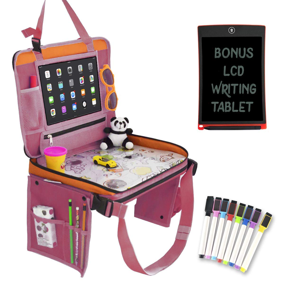 Car Seat Organizer for Kids Travel Tray Bundle with LCD Writing Tablet - Kids Travel Activities Set | Car Seat Organizer with Tablet Holder, Kids Travel Bag, LCD Writing Tablet, Markers Set (Pink) by Gleemium