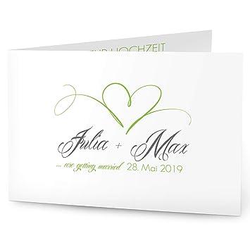 Greetinks Einladungskarten Zur Hochzeit Herz In Grun
